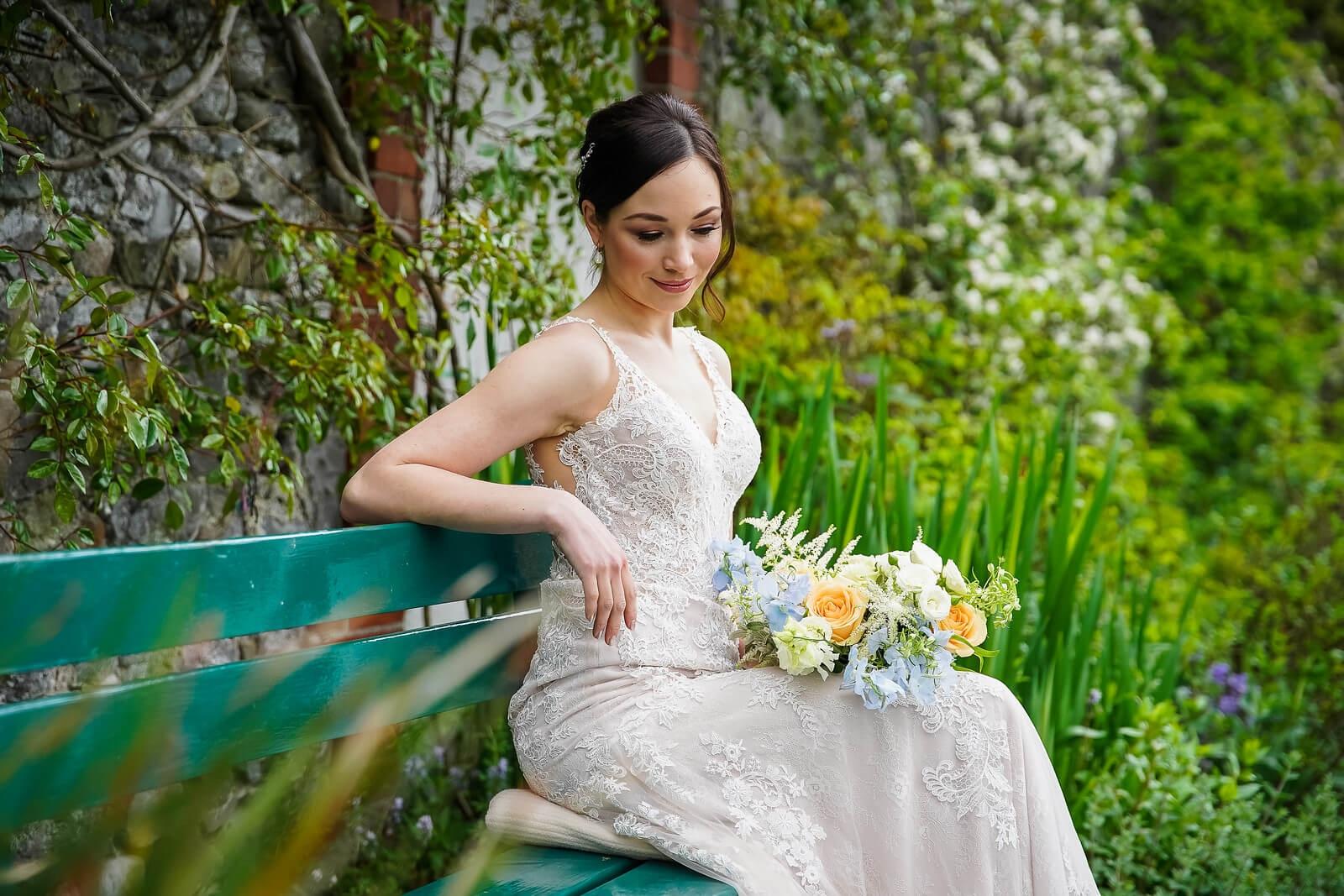 bride garden bench